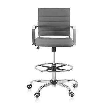 Drafting Stool Office Chair Ergonomic Footrest Leather - Toptopdeal.co.uk