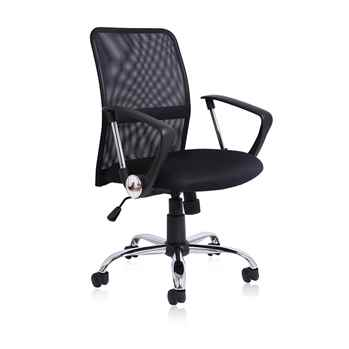 Office Essentials Chair with Wheels, Mesh, Black - Toptopdeal.co.uk